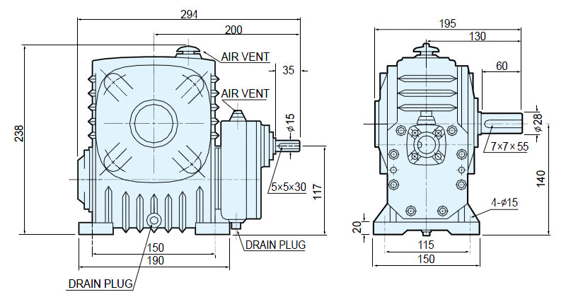 MAX21 Helical Worm Gear Reducer - BWP & VWP series ( Ratio 1/80 ~ 1