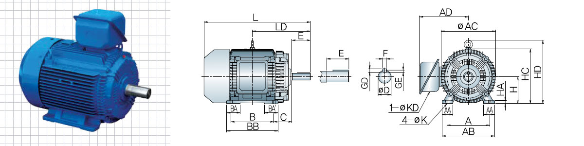 5.5kw / 7.5hp 4-pole TEFC HYOSUNG Induction Motor, Foot Mounted